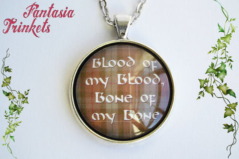 Blood of my Blood - Celtic Wedding Vows on Fraser Tartan Glass Pendant Necklace - Outlander Jewelry