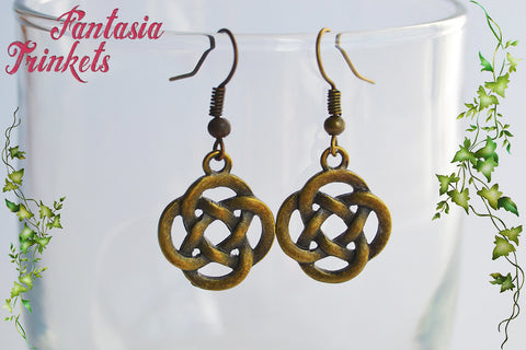Bronze Celtic Knots Dangle & Drop Hook Earrings - Outlander Jewelry