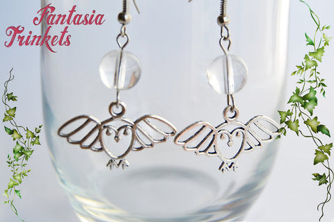 Jareth the Goblin King Earrings - Crystal Ball & Silver Owl Danlge & Drop Hooks - Labyrinth Jewelry