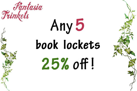 Any 5 Book Lockets 25% off - Bundle Offer - Miniature Book Lockets (quote inside) Charm Pendant Necklace Keyring