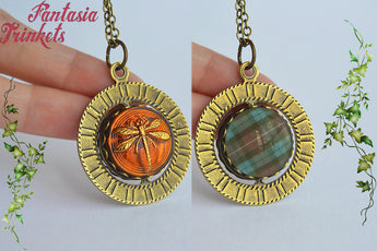 Dragonfly in Amber + Fraser Tartan - Double Sided Spinning Pendant Necklace - Outlander Jewelry