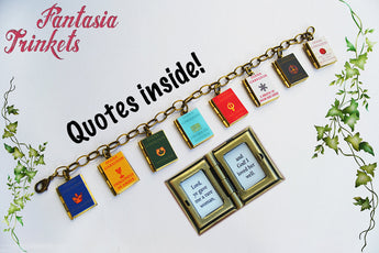 LAST ONE Diana Gabaldon's Outlander Series Book Lockets (with quotes inside!) Charm Bracelet