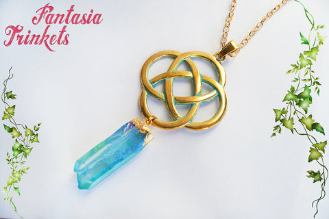 Blue Aura Crystal and Huge Golden Celtic Knot Pendant Necklace - Outlander Jewelry