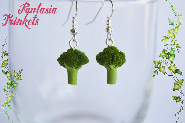 Broccoli Earrings - Tiny Veggies - Steel Hooks - Miniature Vegan & Vegetarian Food Jewelry