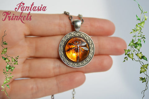 Sale dragonfly in amber on silver ornate pendant necklace sale dragonfly in amber on silver ornate pendant necklace outlander inspired aloadofball Images