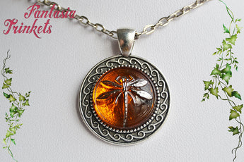 Dragonfly in Amber (Czech Glass) on Silver Ornate Pendant Necklace - Outlander Jewelry