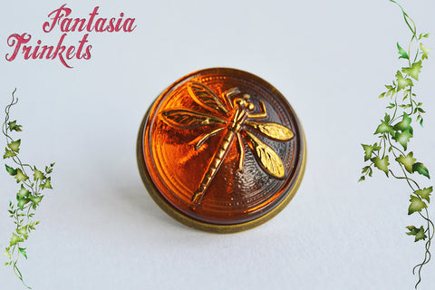 Dragonfly in Amber Pin - Czech Glass on Bronze Brooch - Outlander Jewelry