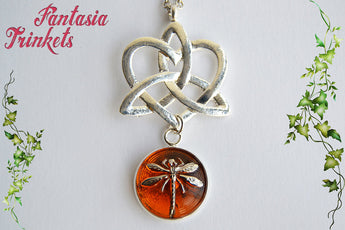 Celtic Knot Heart + Dragonfly in Amber Czech Glass Silver Pendant Necklace - Outlander Jewelry