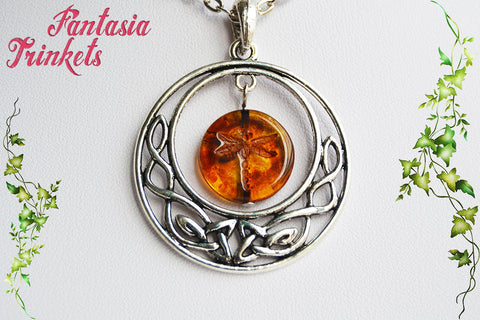 Dragonfly in Amber in a Celtic Circle Pendant Necklace - Outlander Jewelry