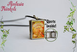Grimm's Fairy Tales Miniature Book Locket (quote inside) Charm, Keychain or Pendant Necklace