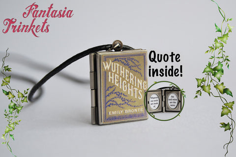 Wuthering Heights Miniature Book Locket (quote inside) Charm, Keychain or Pendant Necklace