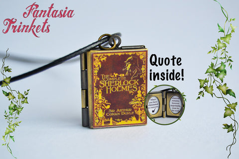 Sherlock Holmes Miniature Book Locket (quote inside) Charm, Keychain or Pendant Necklace