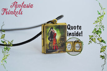 Princess Bride Miniature Book Locket (quote inside + 2 covers to choose) Charm, Keychain or Pendant Necklace