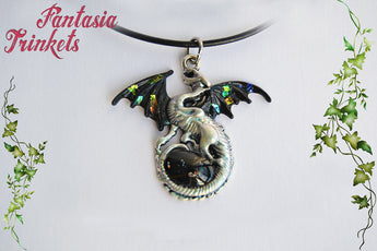 Black Opal Dragon - Black Winged Dragon with Opal Shards and Glass Gem Egg - Handpainted Pendant Necklace - Epic Medieval Fantasy Jewelry