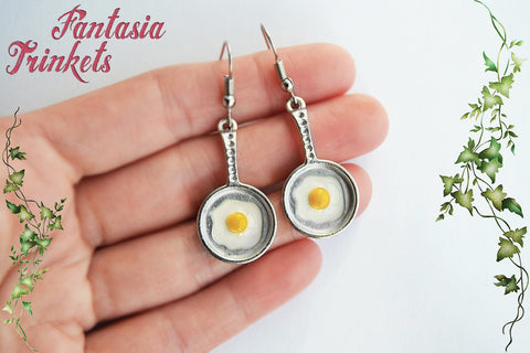 Tiny Egg in a Frying Pan - Sunny Side Up Dangle Hook Earrings - Miniature Food Jewelry