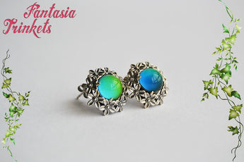 Sterling Silver Mood Post Earrings - Color Changing Stones on Solid 925 Silver Studs - Mood Jewelry