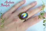 Black Aurora Borealis Iridescent Glass Gem on an Adjustable Bronze Brass Scalloped Ring - Medieval Fantasy Jewelry