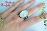 Opal Ring - Handmade Iridescent Resin Cabochon on an Adjustable Bronze Tone Brass Filigree Ring - Medieval Fantasy Jewelry