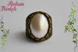 Pearl Ring - Ivory Grey-White Pearlized Acrylic Oval Cabochon on an Adjustable Ornate Bronze Ring - Classic Vintage Jewelry
