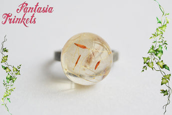"Dandelion Ring - Real Dandelion Seeds ""Wishes"" inside a Resin Orb on a Dark Silver Tone Adjustable Ring - Nature Lover Statement Jewelry"