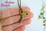 Tik-Tok Royal Army of Oz Winding Key - Mechanical Clockwork Wind-Up Toy Vintage Brass Pendant Necklace