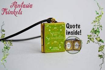 Sense and Sensibility Miniature Book Locket (Jane Austen quote inside) Charm, Keychain or Pendant Necklace