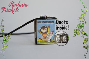 Where the wild things are Miniature Book Locket (quote inside) Charm, Keychain or Pendant Necklace