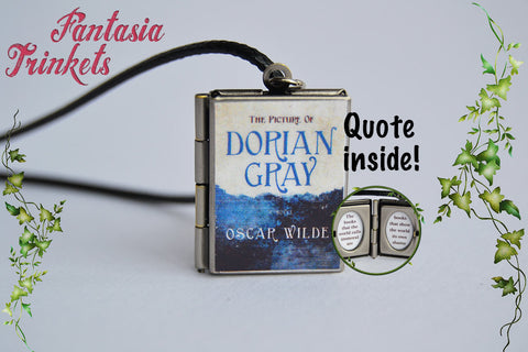 Picture of Dorian Gray Miniature Book Locket (Wilde quote inside) Charm Keychain Pendant Necklace