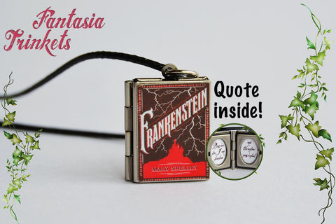 Frankenstein Miniature Book Locket (quote inside) Charm Keychain Pendant Necklace