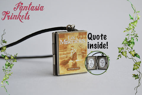 Les Miserables Miniature Book Locket (Victor Hugo quote inside) Charm, Keychain or Pendant Necklace