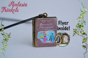 Handbook for the Recently Deceased Miniature Book Locket (flyer inside!) Charm, Keychain or Pendant Necklace - Beetlejuice inspired