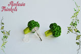 Broccoli Earrings - Tiny Clay Veggie Posts - Vegan & Vegetarian Statement - Stainless Steel Studs - Miniature Food Jewelry