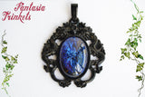 Dark Dragon's Breath Necklace - Large Czech Glass Mexican Fire Opal 25x18 Oval Cabochon on a Black Pendant - Medieval Fantasy Jewelry