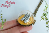 Dorothy's Silver Shoes on the Yellow Brick Road to Emerald City - Miniature Glass Dome Pendant Necklace