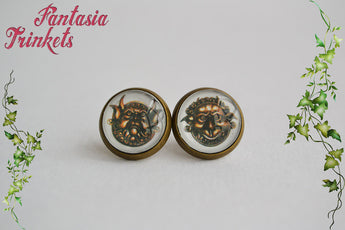 Labyrinth Door Knockers Post Earrings - 12mm Photo Glass Studs - Four metal finishes