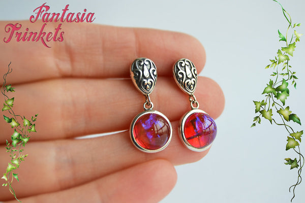 Sterling Silver Dragon's Breath Earrings - 9mm Glass Fire Opal Cabochons - Solid 925 Sterling Silver Stud & Drop Earrings - Fantasy Jewelry