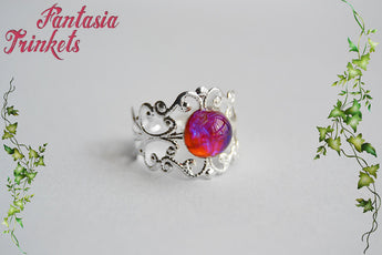 Dragon's Breath Ring - Small Czech Glass Mexican Fire Opal 8mm Round Cabochon - Adjustable Silver Filigree Ring - Medieval Fantasy Jewelry