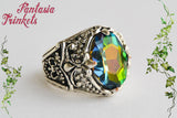 Arkenstone Ring - Rainbow Jewel Unisex Silver Adjustable Ring - Tolkien Fantasy Jewelry