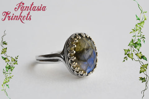 Labradorite Sterling Silver Ring - Faceted Blue Flash Labradorite Gemstone on a Solid 925 Sterling Silver Adjustable Crown Edged Ring