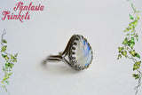 Natural Rainbow Moonstone Teardrop on Solid 925 Sterling Silver Ring