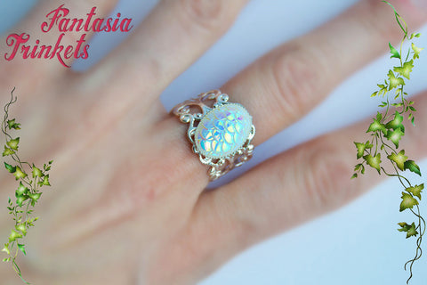 Falkor the Luck Dragon Ring - Iridescent White Opal Pearl Scales on Adjustable Ring - Neverending Story Jewelry