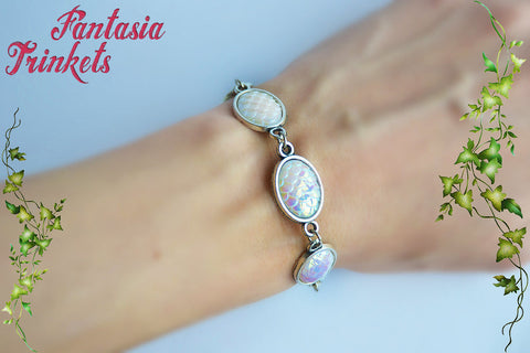 Falkor the Luck Dragon Bracelet - Iridescent White Opal Pearl Scales Bracelet - Neverending Story Jewelry