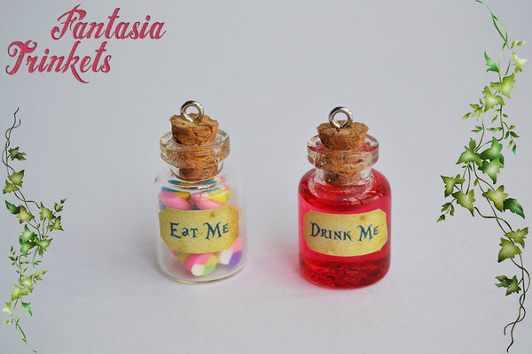 Eat me / Drink me - Handmade Tiny Glass Bottle Charm, Pendant Necklace or Hook Earrings - Alice in Wonderland