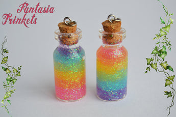 Rainbow Glitter Gel Glass Bottle Charm, Keychain or Pendant Necklace