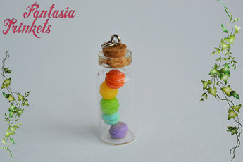 Miniature Rainbow Macarons in a Tiny Glass Bottle Charm Pendant Necklace