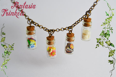 The Four Seasons in Tiny Glass Bottles Necklace