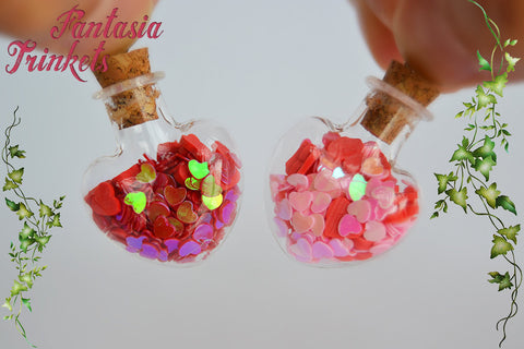 Hearts in a Heart-Shaped Glass Bottle Charm Pendant Necklace