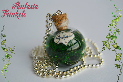 Gillyweed - Magic Potion Glass Bottle Charm Pendant Necklace - Harry Potter Jewelry