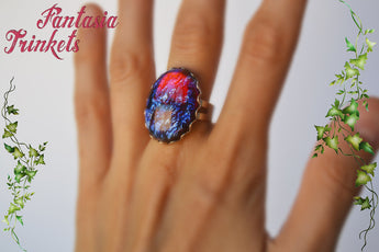 Dragon's Breath Ring - Large Czech Glass Mexican Fire Opal 25x18 Oval Cabochon on an Adjustable Ring - Medieval Fantasy Jewelry