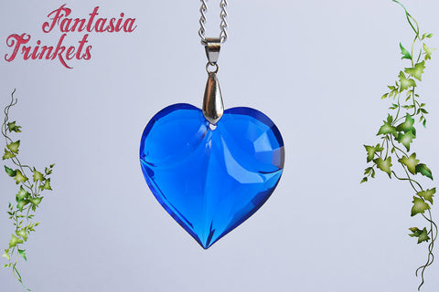 Blue Heart - Translucent Acrylic Saphire Blue Heart Pendant Necklace